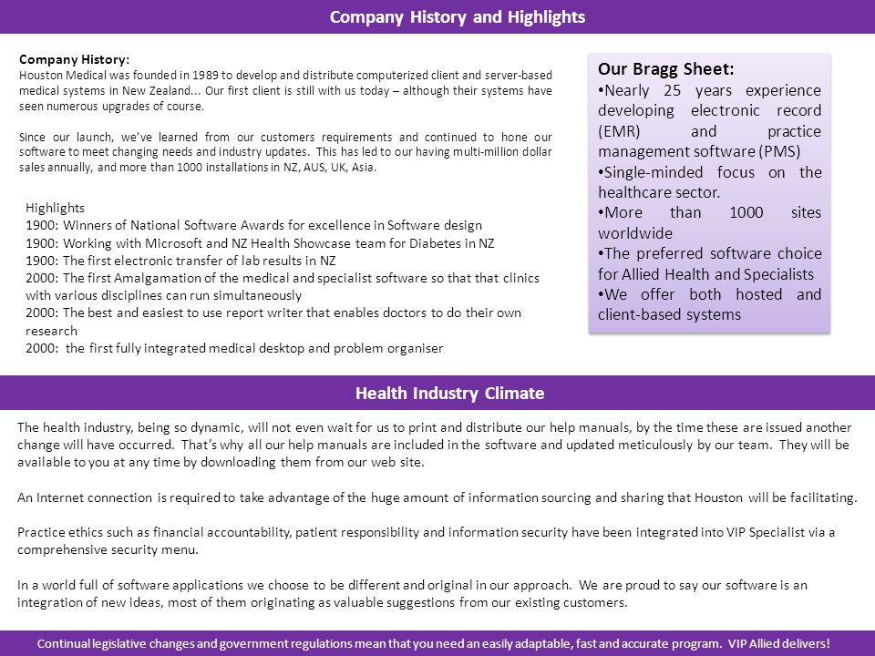 Company History: Houston Medical was founded in 1989 to develop and distribute computerized client and server-based medical systems in New Zealand...