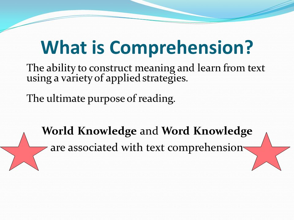What is Comprehension? The ability to construct meaning and learn from text using a variety of applied strategies. The ultimate purpose of reading. Wo