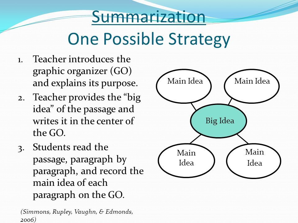 Summarization One Possible Strategy 1. Teacher introduces the graphic organizer (GO) and explains its purpose. 2. Teacher provides the big idea of the