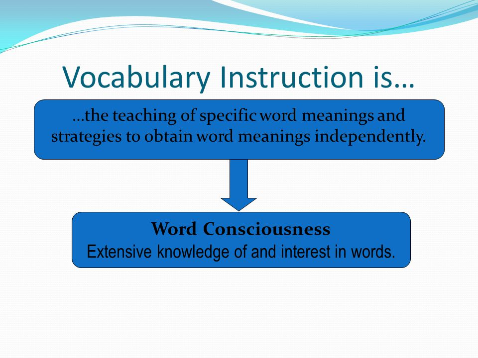 Vocabulary Instruction is… …the teaching of specific word meanings and strategies to obtain word meanings independently. Word Consciousness Extensive