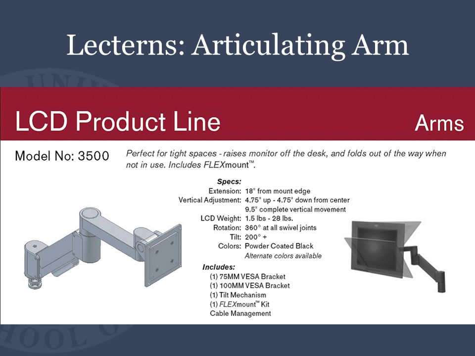 Lecterns: Articulating Arm