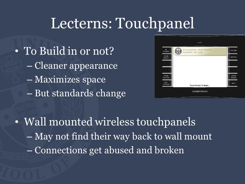 Lecterns: Touchpanel To Build in or not.