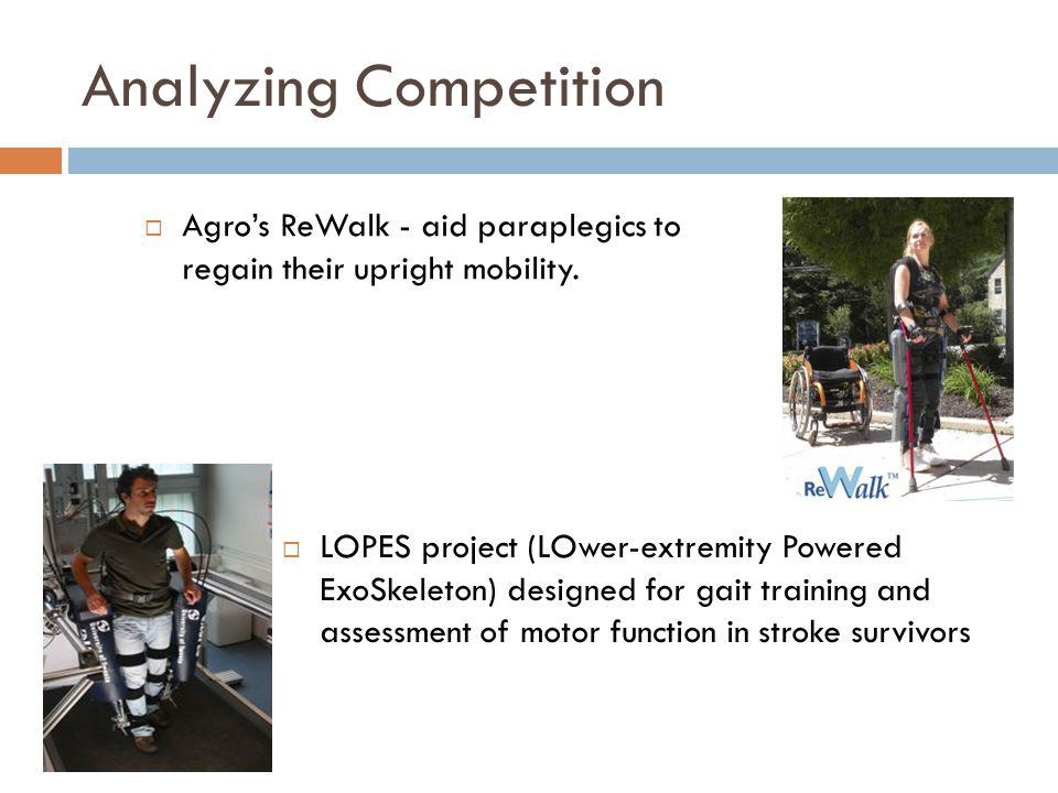 Analyzing Competition LOPES project (LOwer-extremity Powered ExoSkeleton) designed for gait training and assessment of motor function in stroke surviv