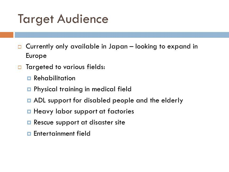 Target Audience Currently only available in Japan – looking to expand in Europe Targeted to various fields: Rehabilitation Physical training in medica