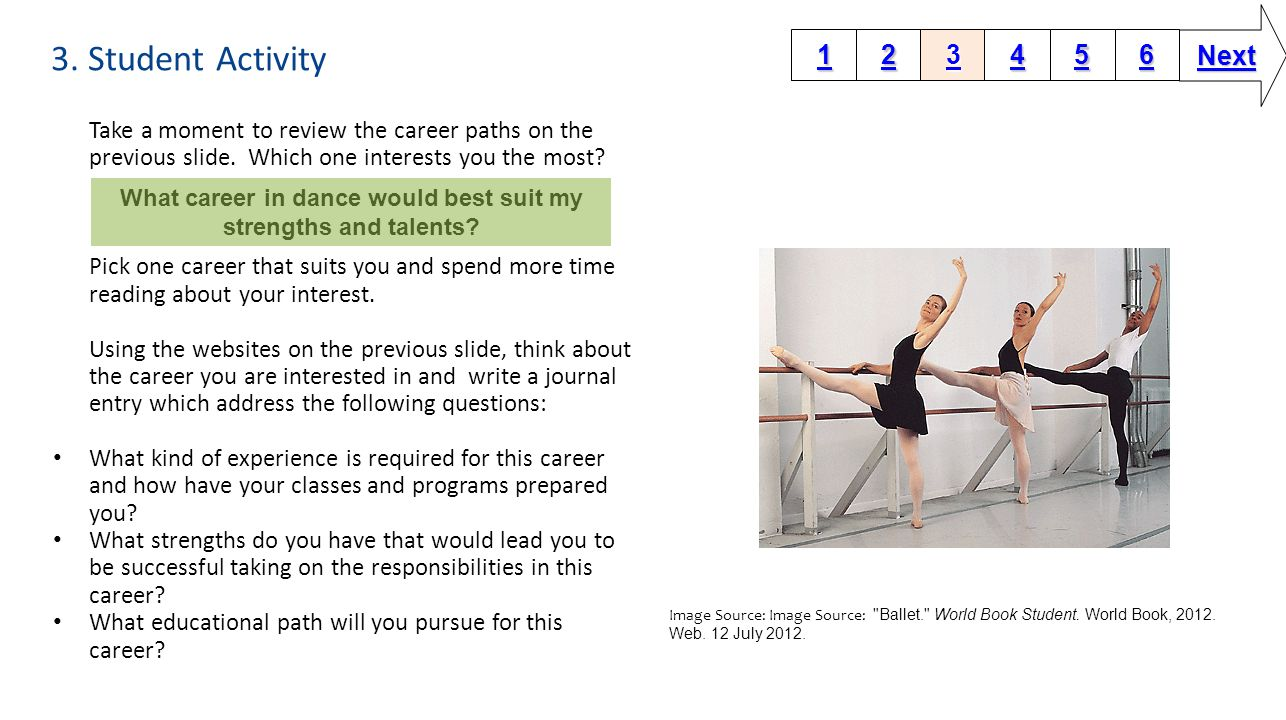 3. Student Activity Take a moment to review the career paths on the previous slide.