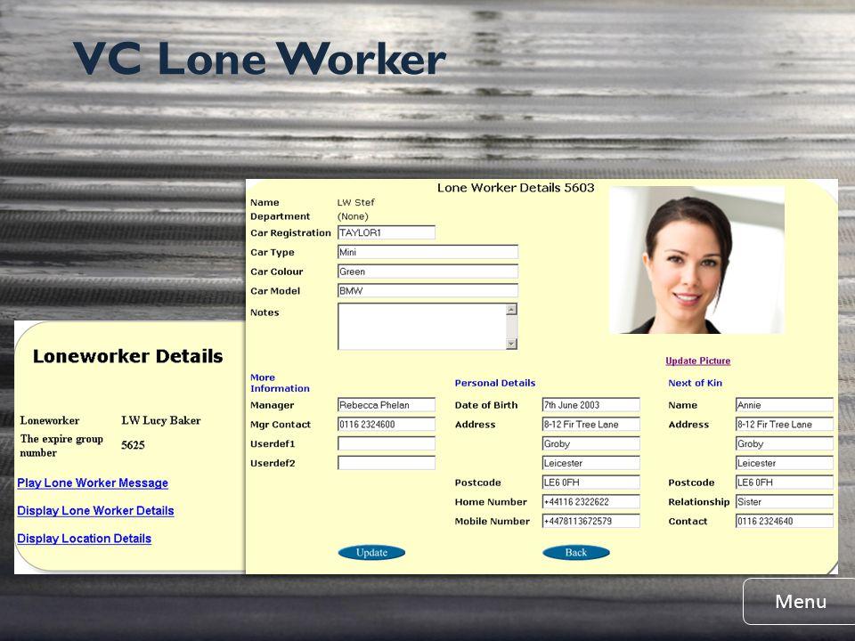 VC Lone Worker Menu