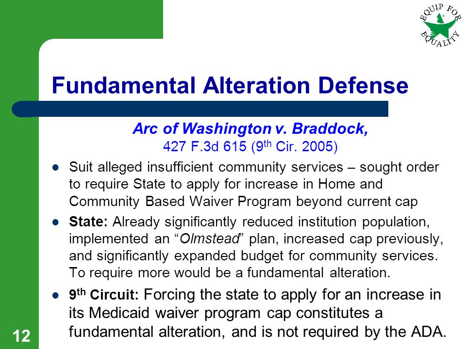 Fundamental Alteration Defense Arc of Washington v.