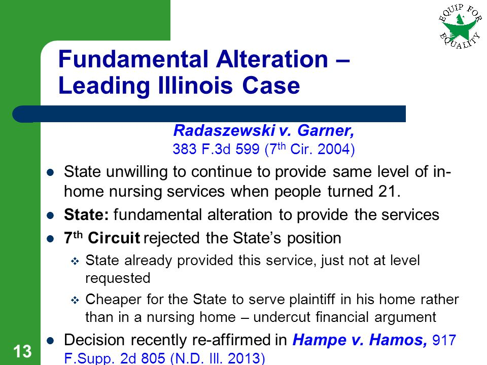 Fundamental Alteration – Leading Illinois Case Radaszewski v.