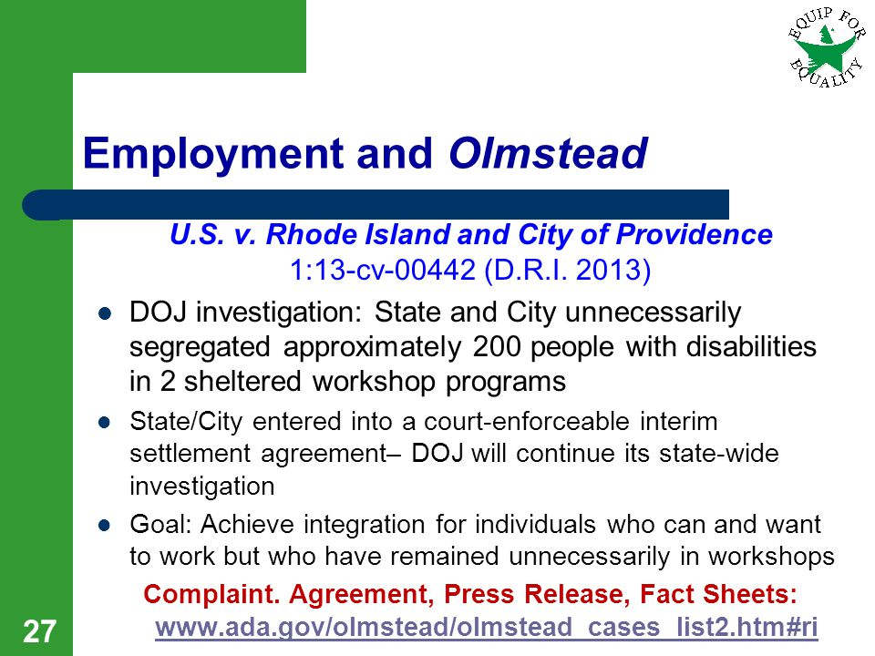 Employment and Olmstead U.S. v. Rhode Island and City of Providence 1:13-cv-00442 (D.R.I.