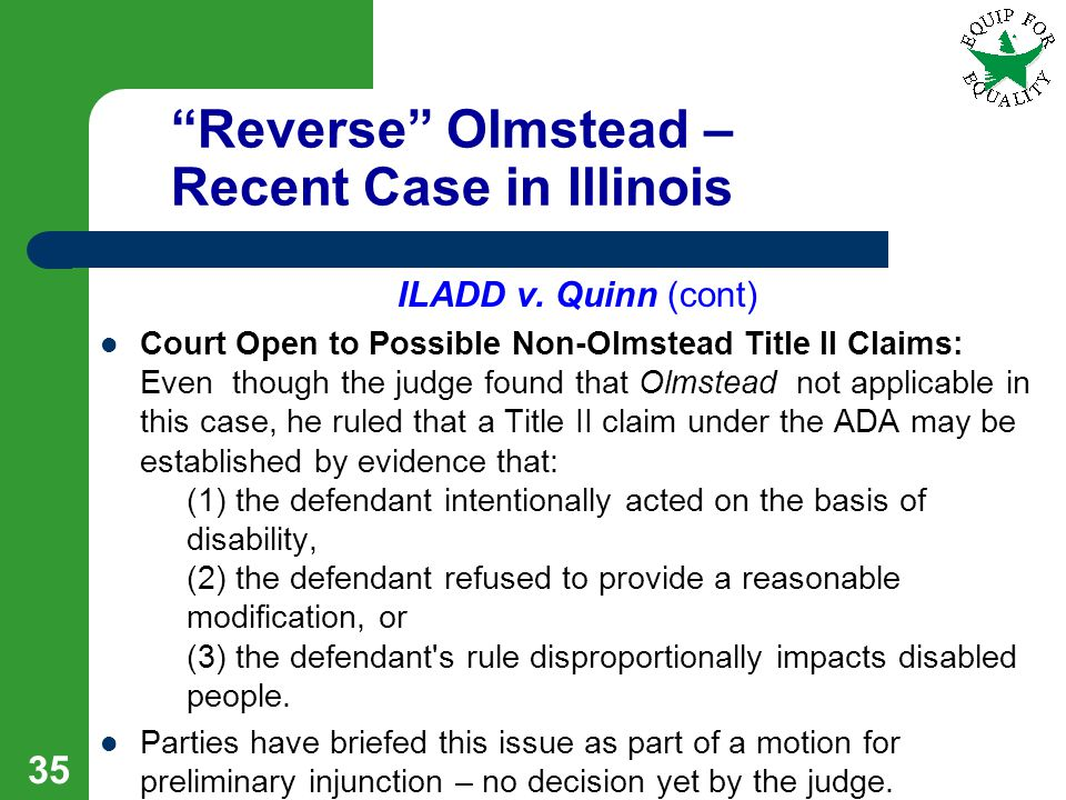 Reverse Olmstead – Recent Case in Illinois ILADD v.