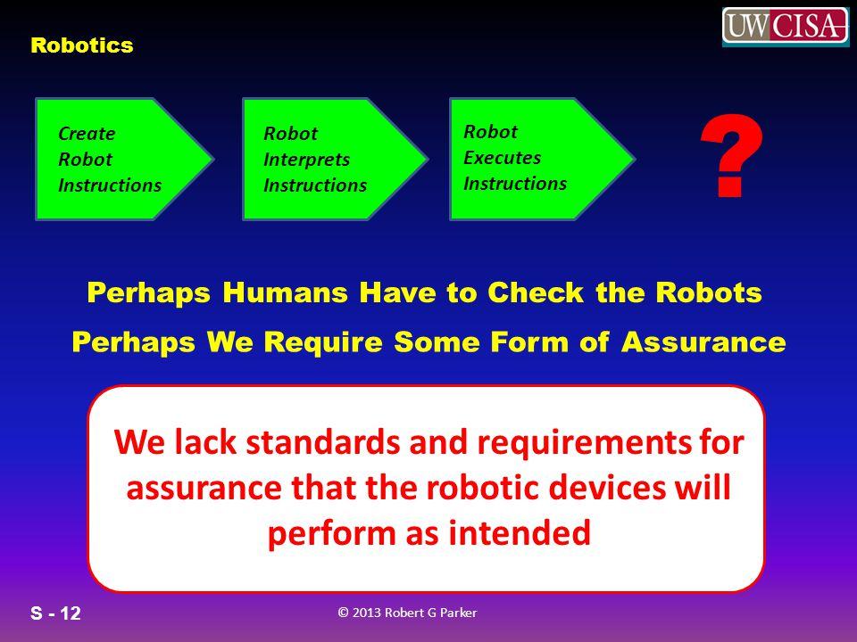 S - 12 © 2013 Robert G Parker Robotics Create Robot Instructions Robot Interprets Instructions Robot Executes Instructions .