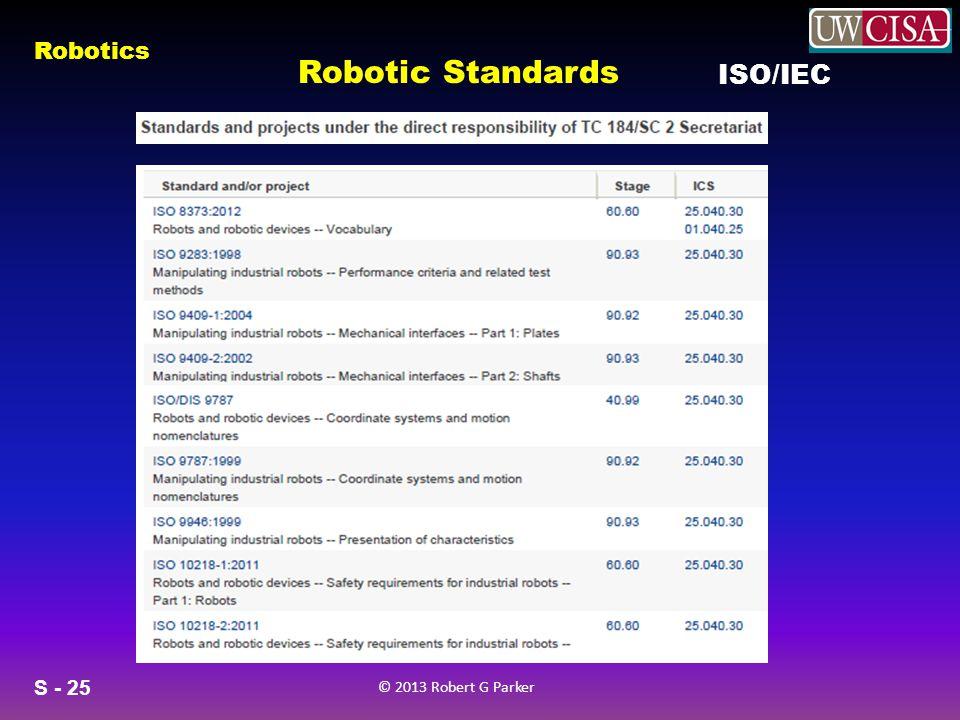 S - 25 © 2013 Robert G Parker Robotics Robotic Standards ISO/IEC