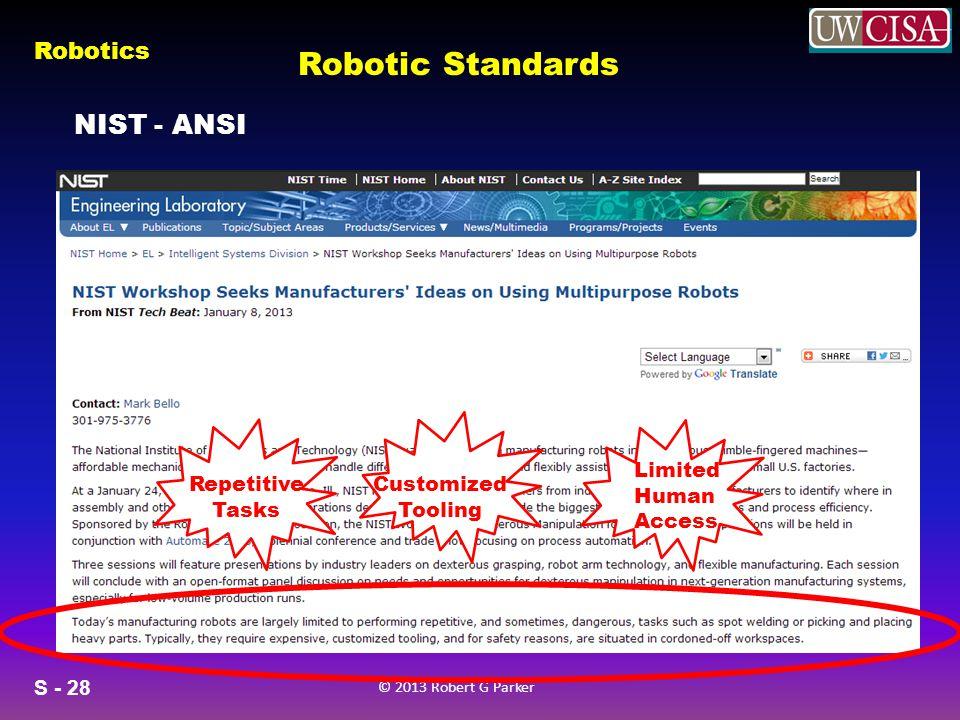 S - 28 © 2013 Robert G Parker Robotics NIST - ANSI Robotic Standards Repetitive Tasks Customized Tooling Limited Human Access