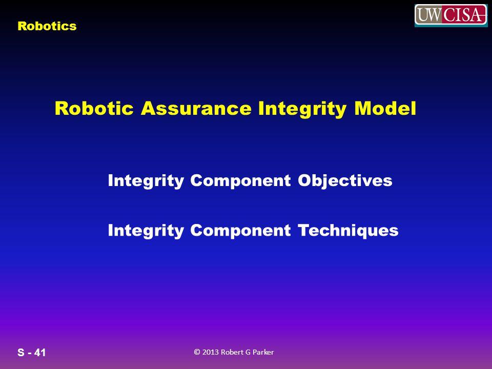 S - 41 © 2013 Robert G Parker Robotics Robotic Assurance Integrity Model Integrity Component Objectives Integrity Component Techniques