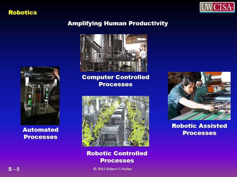 S - 5 © 2013 Robert G Parker Robotics Amplifying Human Productivity Automated Processes Computer Controlled Processes Robotic Controlled Processes Robotic Assisted Processes