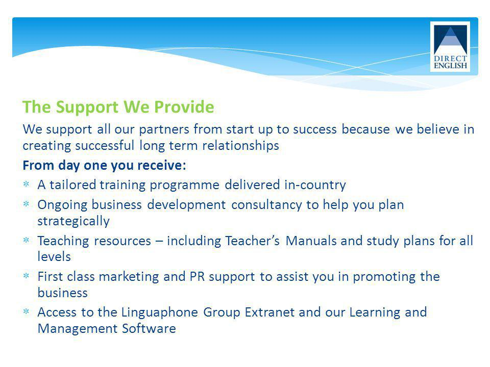 The Support We Provide We support all our partners from start up to success because we believe in creating successful long term relationships From day