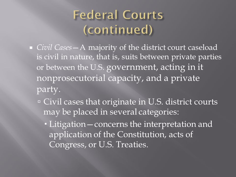 Civil Cases A majority of the district court caseload is civil in nature, that is, suits between private parties or between the U.S.
