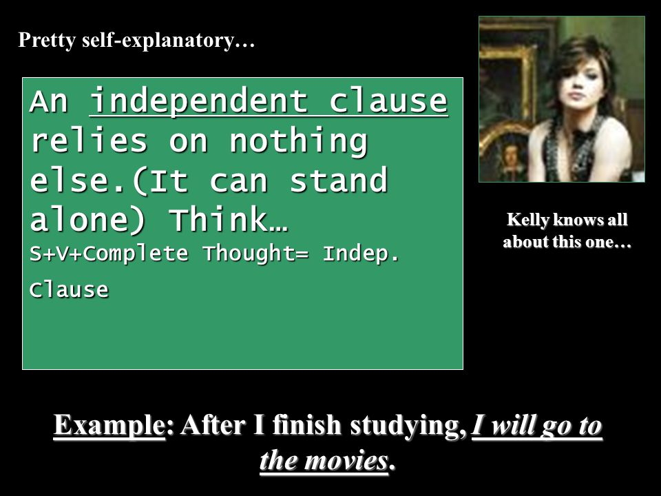 A dependent clause relies on the rest of the sentence…it cant stand alone because its dependent.