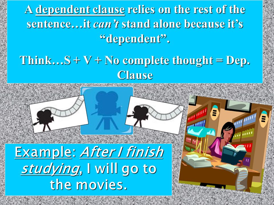 There are 3 specific types of dependent (subordinate) clauses… 1.