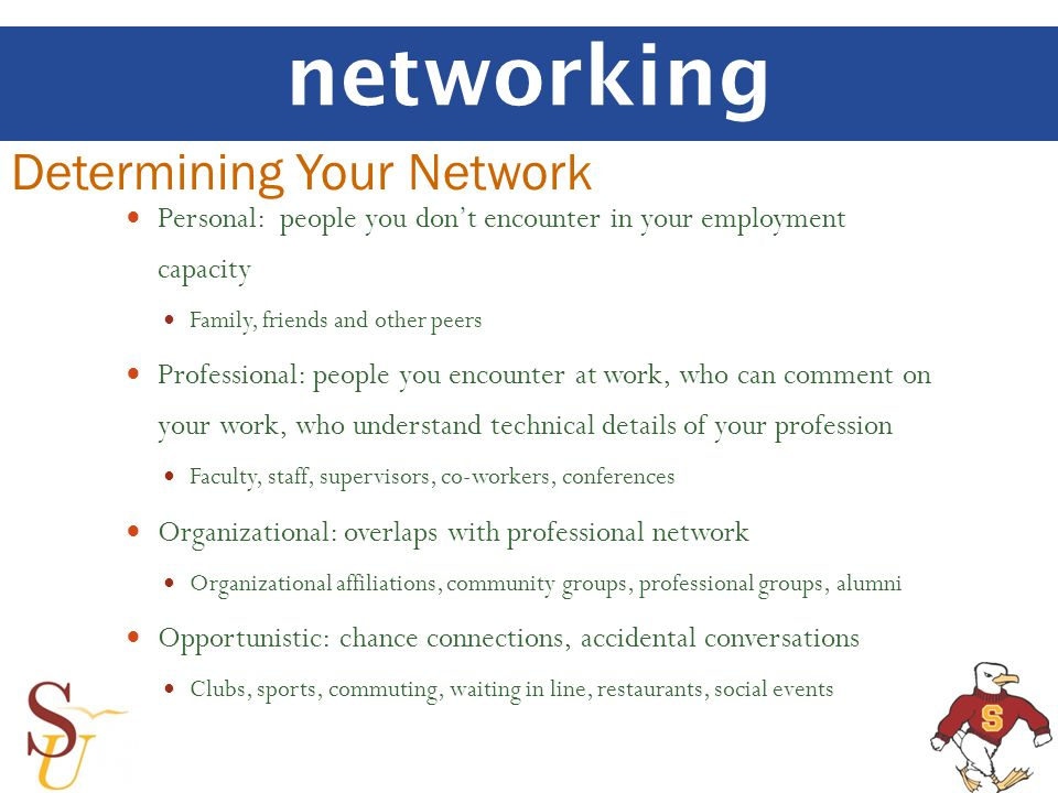 networking Determining Your Network Personal: people you dont encounter in your employment capacity Family, friends and other peers Professional: people you encounter at work, who can comment on your work, who understand technical details of your profession Faculty, staff, supervisors, co-workers, conferences Organizational: overlaps with professional network Organizational affiliations, community groups, professional groups, alumni Opportunistic: chance connections, accidental conversations Clubs, sports, commuting, waiting in line, restaurants, social events