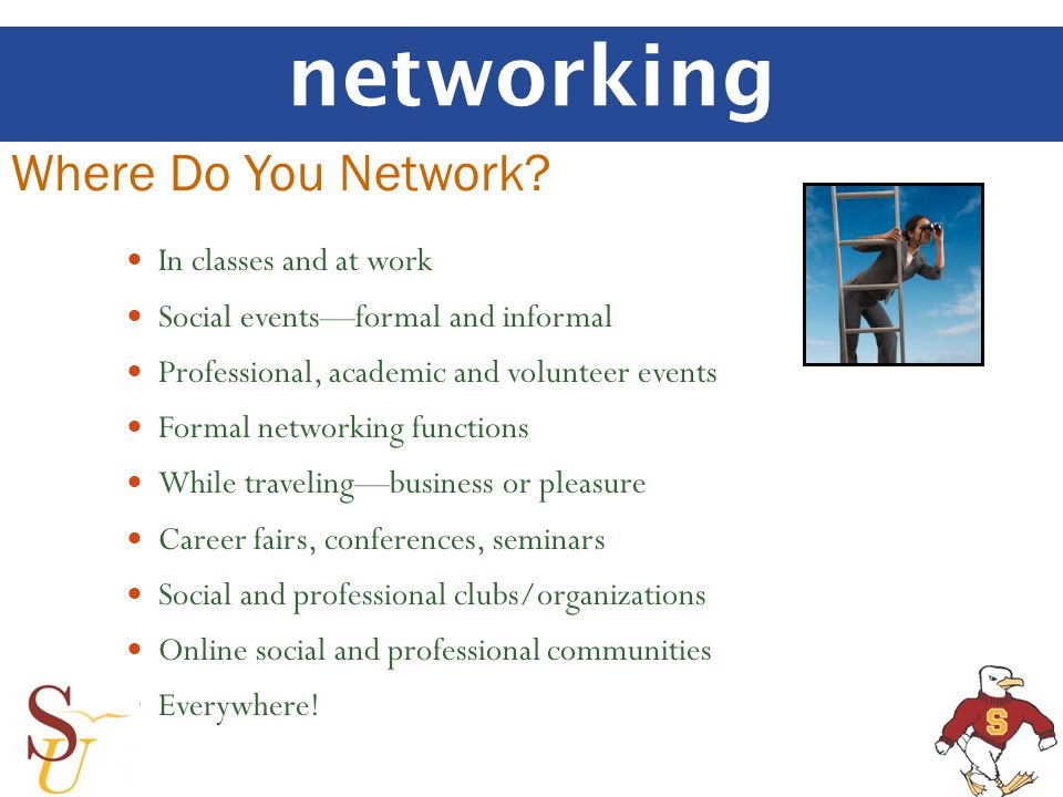 networking Where Do You Network? In classes and at work Social eventsformal and informal Professional, academic and volunteer events Formal networking