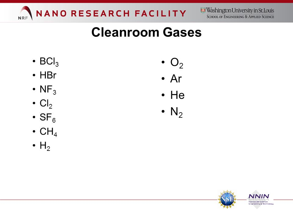BCl 3 HBr NF 3 Cl 2 SF 6 CH 4 H 2 O 2 Ar He N 2 Cleanroom Gases