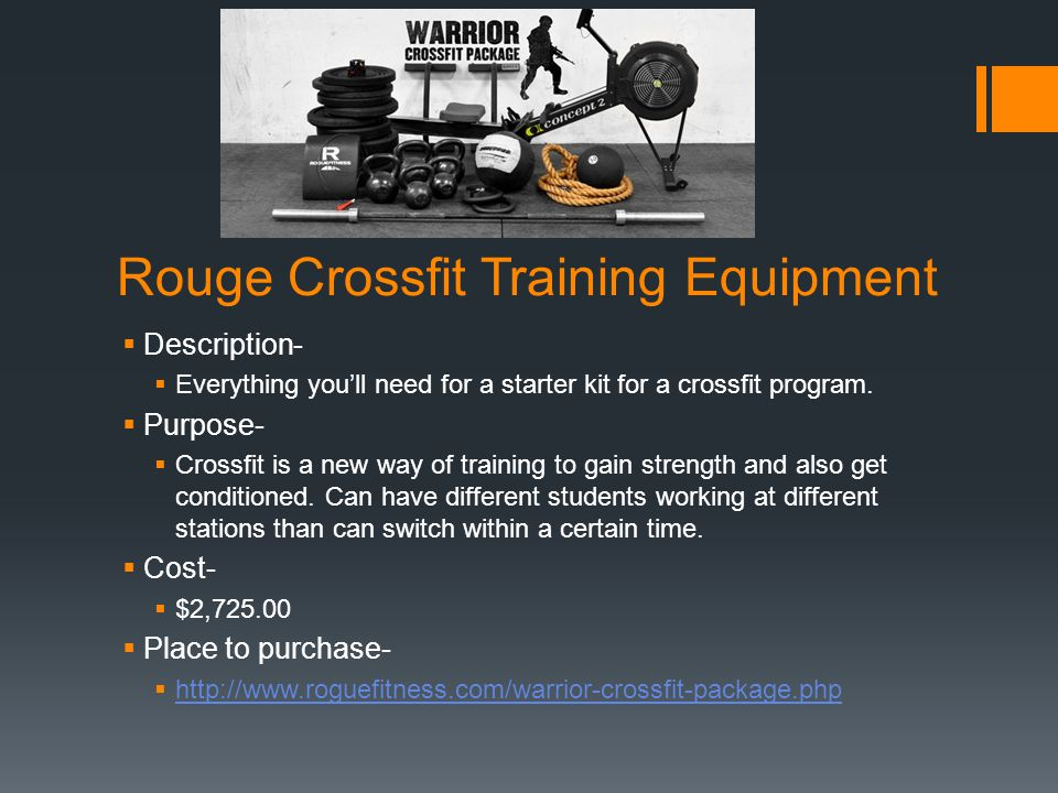Rouge Crossfit Training Equipment Description- Everything youll need for a starter kit for a crossfit program.