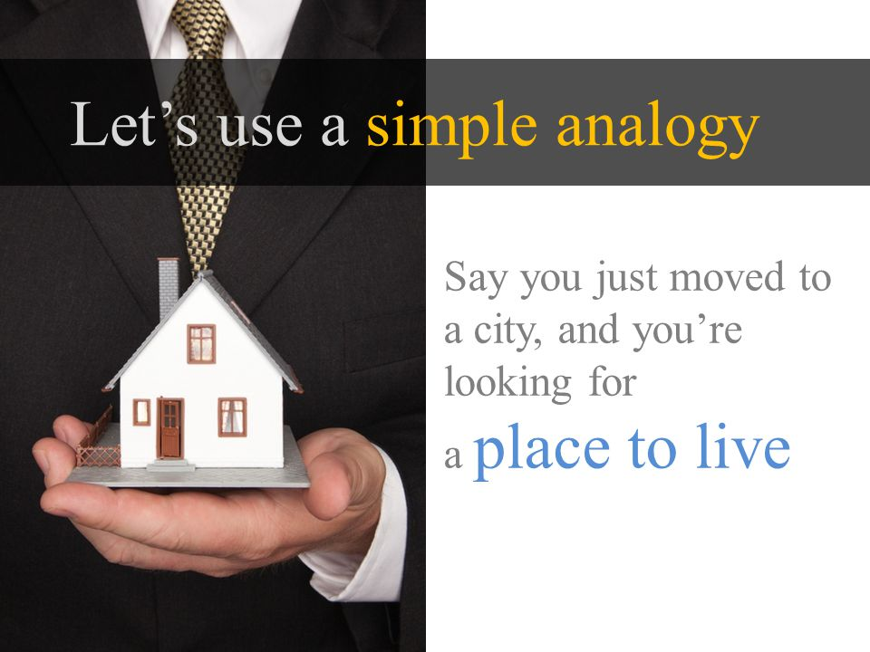 Lets use a simple analogy Say you just moved to a city, and youre looking for a place to live