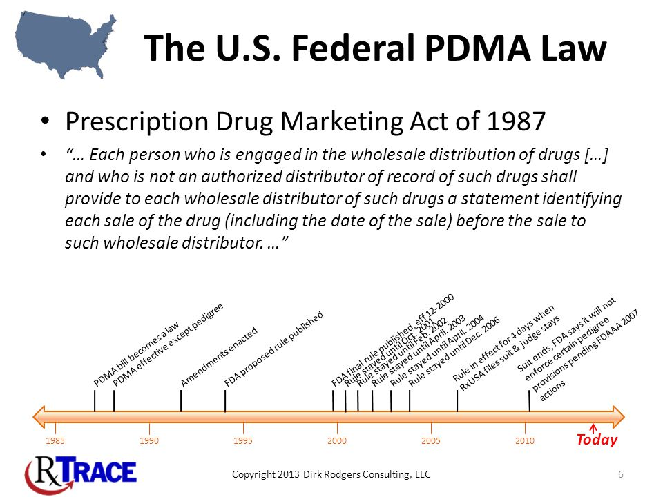 The U.S. Federal PDMA Law Prescription Drug Marketing Act of 1987 … Each person who is engaged in the wholesale distribution of drugs […] and who is n