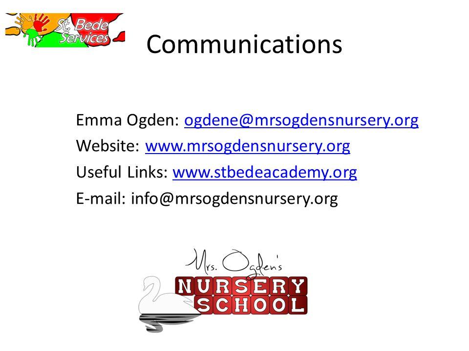 Communications Emma Ogden: ogdene@mrsogdensnursery.orgogdene@mrsogdensnursery.org Website: www.mrsogdensnursery.orgwww.mrsogdensnursery.org Useful Links: www.stbedeacademy.orgwww.stbedeacademy.org E-mail: info@mrsogdensnursery.org