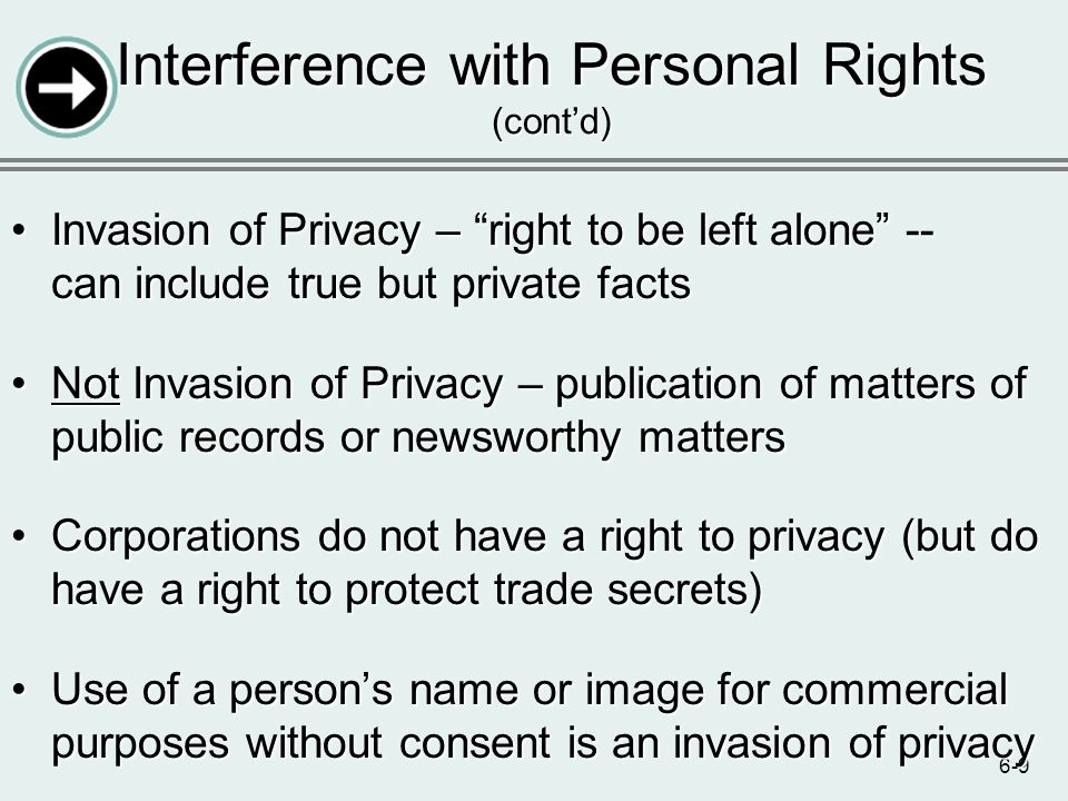 6-9 Invasion of Privacy – right to be left alone -- can include true but private factsInvasion of Privacy – right to be left alone -- can include true
