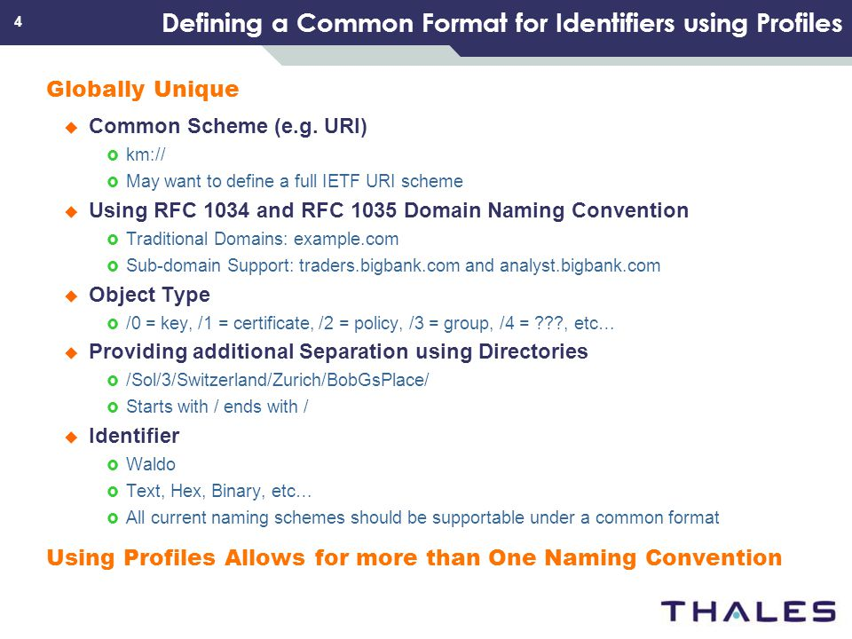 4 Defining a Common Format for Identifiers using Profiles Globally Unique Common Scheme (e.g. URI) km:// May want to define a full IETF URI scheme Usi