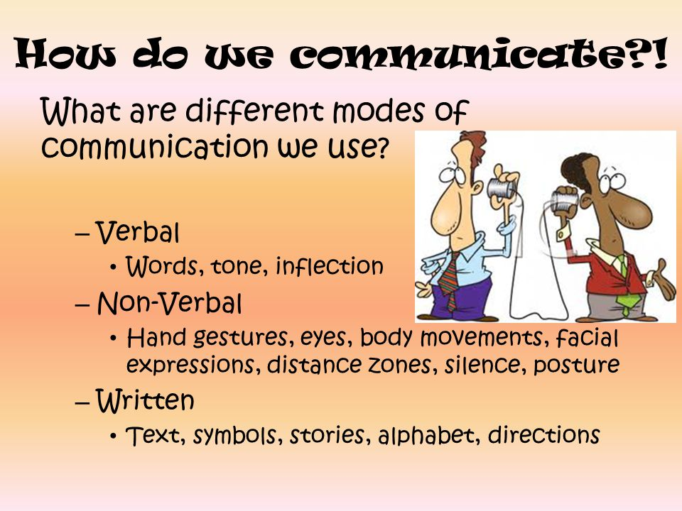 How do we communicate?! What are different modes of communication we use? – Verbal Words, tone, inflection – Non-Verbal Hand gestures, eyes, body move