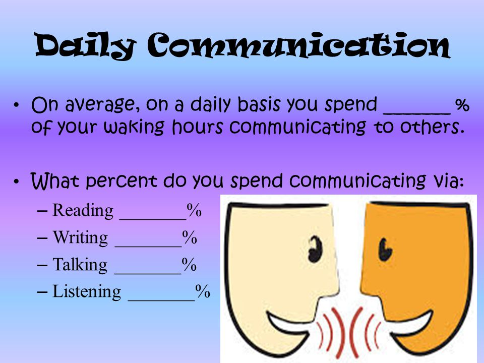 Daily Communication On average, on a daily basis you spend _______ % of your waking hours communicating to others. What percent do you spend communica
