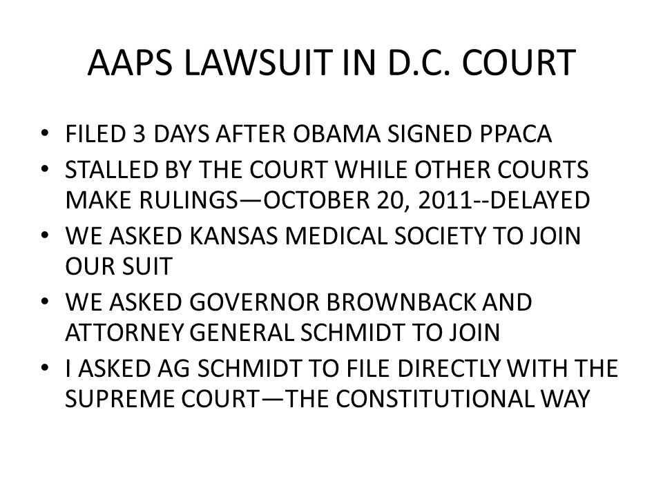 PLANNED PARENTHOOD AUGUST 1, 2011, ATTORNEY ANDREW SCHLAFLY FILED IN FEDERAL COURT TO DEFEND THE KANSAS LAW RESTRICTING FUNDING FOR PLANNED PARENTHOOD KS ATT GEN DEREK SCHMIDT DECLINED TO DEFEND THE LAW PASSED BY THE 2011 LEGISLATURE AND SIGNED BY GOV BROWNBACK AMERICAN ASSOC OF PRO LIFE OBS AND GYNS