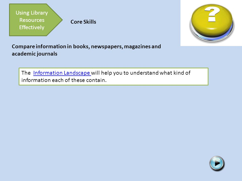Using Library Resources Effectively Core Skills The Information Landscape will help you to understand what kind of information each of these contain.Information Landscape Compare information in books, newspapers, magazines and academic journals