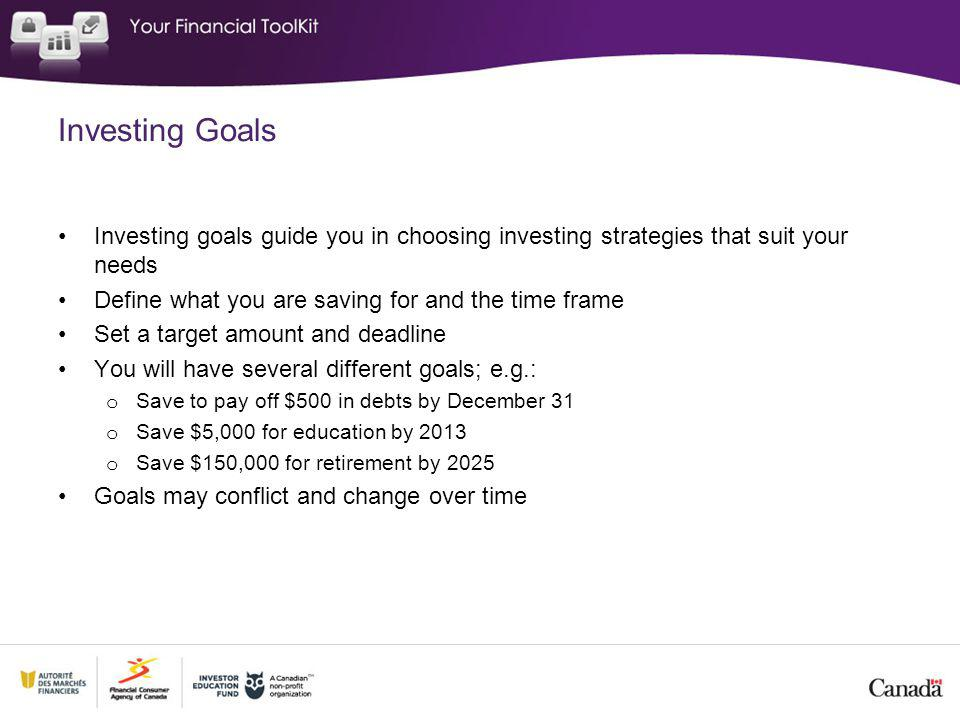Investing Goals Investing goals guide you in choosing investing strategies that suit your needs Define what you are saving for and the time frame Set a target amount and deadline You will have several different goals; e.g.: o Save to pay off $500 in debts by December 31 o Save $5,000 for education by 2013 o Save $150,000 for retirement by 2025 Goals may conflict and change over time