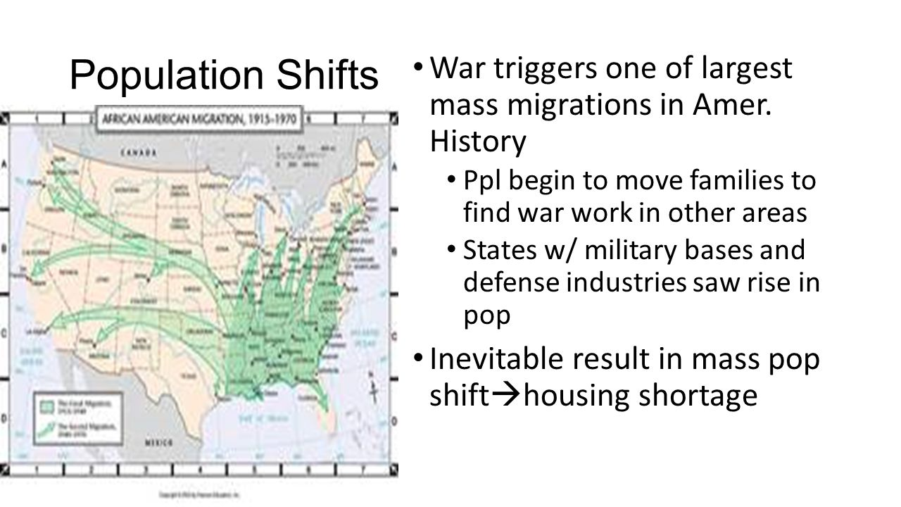 Population Shifts War triggers one of largest mass migrations in Amer.