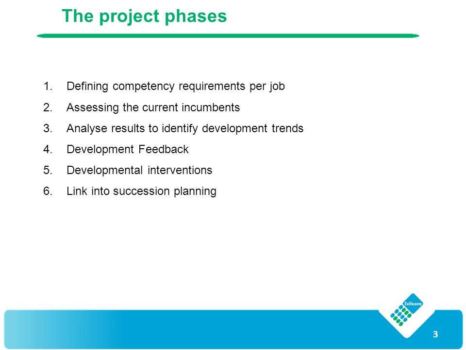 3 The project phases 1.Defining competency requirements per job 2.Assessing the current incumbents 3.Analyse results to identify development trends 4.Development Feedback 5.Developmental interventions 6.Link into succession planning