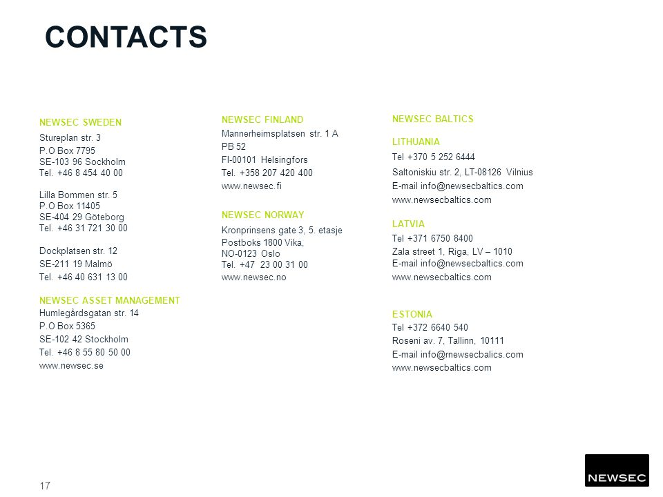 CONTACTS NEWSEC SWEDEN Stureplan str. 3 P.O Box 7795 SE Sockholm Tel.