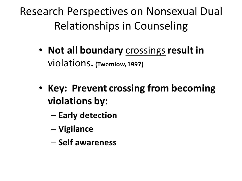 Nonsexual Dual Relationships in Counseling Distinguish between a boundary crossing and a boundary violation Guthiel & Gabbard, 1993). Boundary Crossin