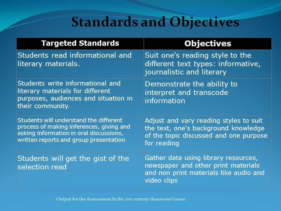 Output for the Assessment In the 21st century classroom Course Standards and Objectives Targeted Standards Objectives Students read informational and literary materials.