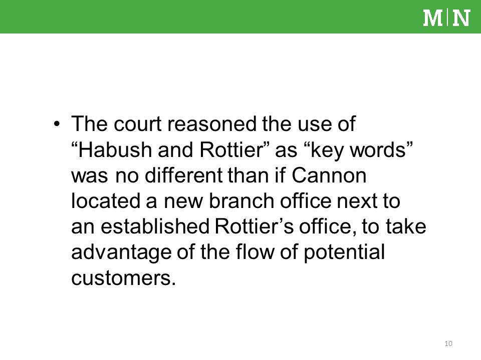 The court reasoned the use of Habush and Rottier as key words was no different than if Cannon located a new branch office next to an established Rottiers office, to take advantage of the flow of potential customers.