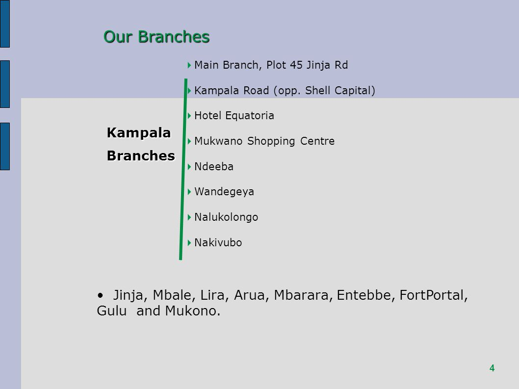 4 Our Branches KampalaBranches Main Branch, Plot 45 Jinja Rd Kampala Road (opp.