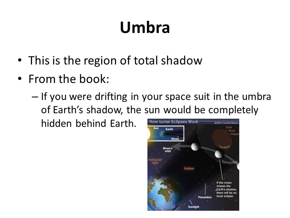 Umbra This is the region of total shadow From the book: – If you were drifting in your space suit in the umbra of Earths shadow, the sun would be comp