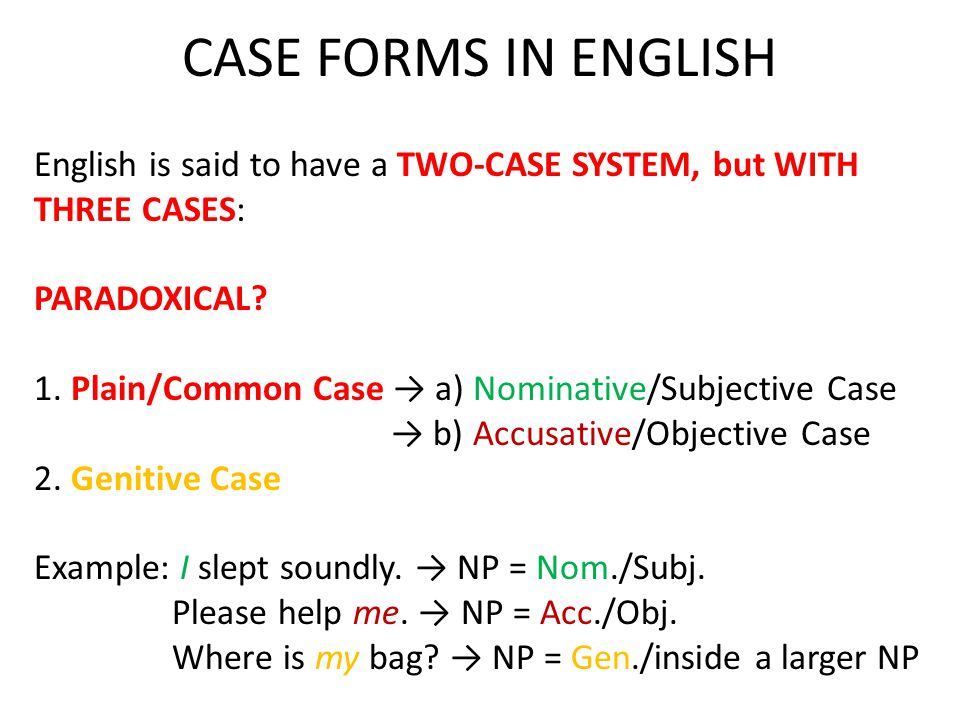 English is said to have a TWO-CASE SYSTEM, but WITH THREE CASES: PARADOXICAL.