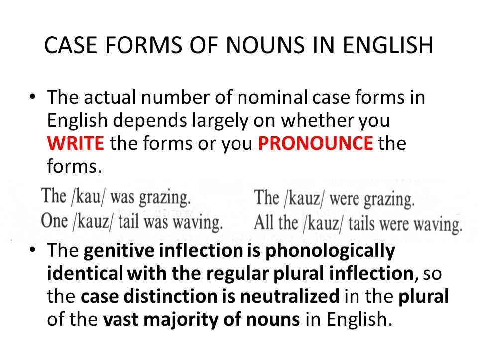 CASE FORMS OF NOUNS IN ENGLISH The actual number of nominal case forms in English depends largely on whether you WRITE the forms or you PRONOUNCE the forms.