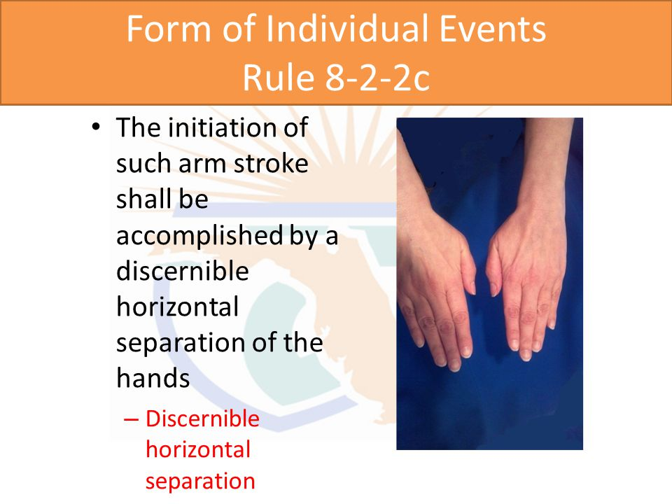 Form of Individual Events Rule 8-2-2c The initiation of such arm stroke shall be accomplished by a discernible horizontal separation of the hands – Streamline position