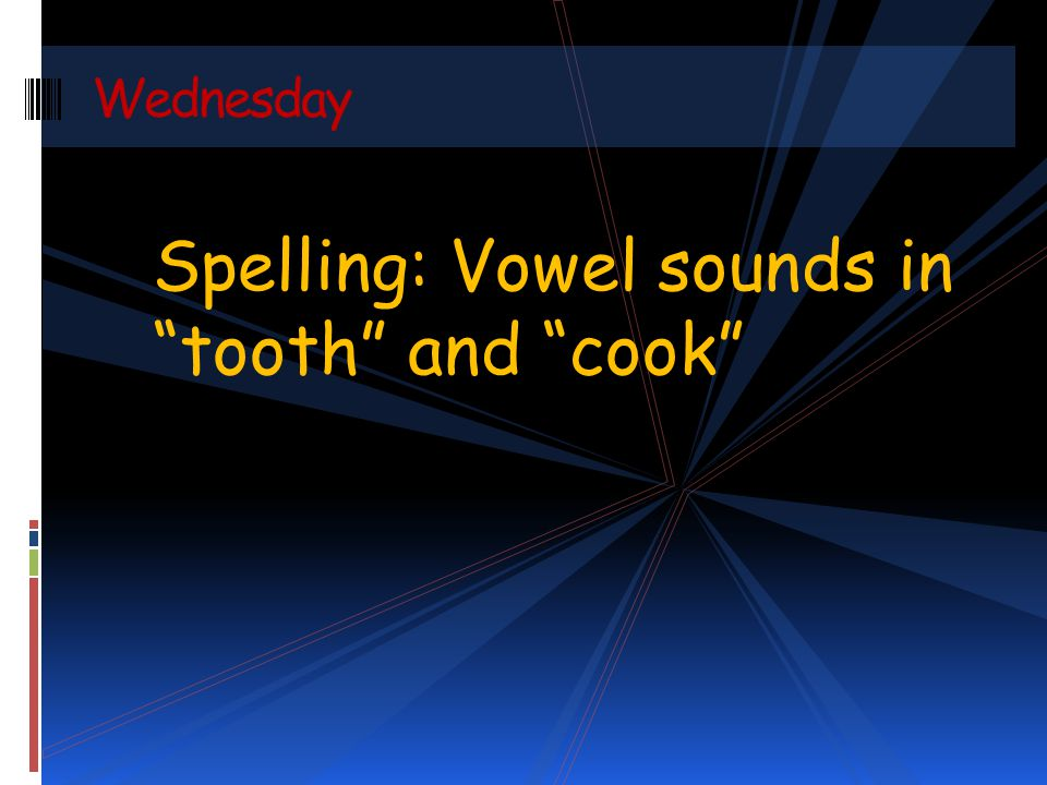 Spelling: Vowel sounds in tooth and cook Wednesday
