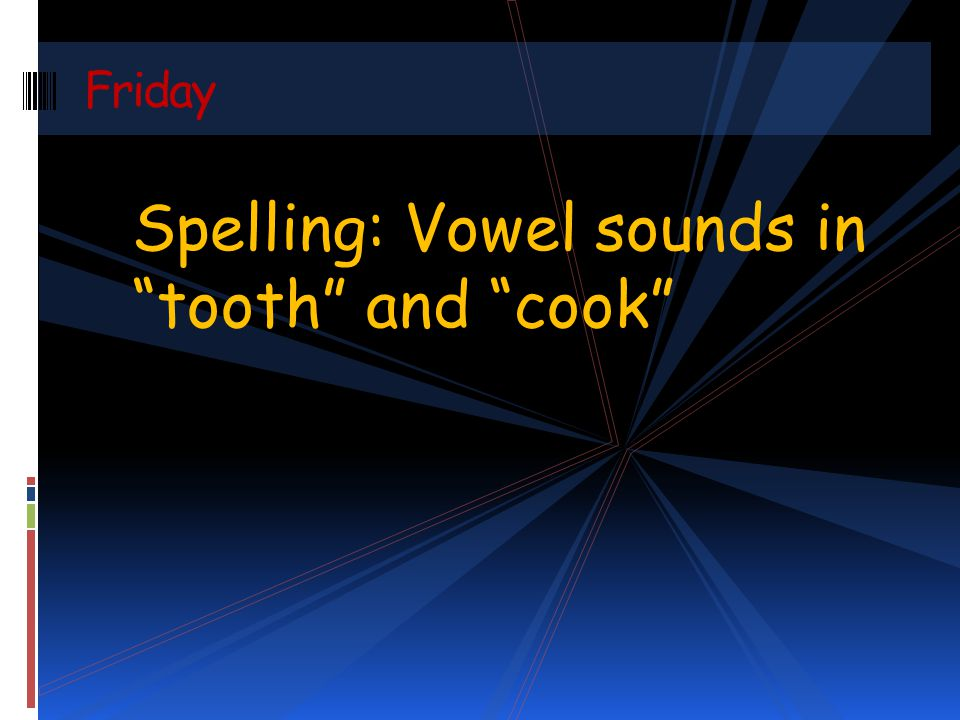 Spelling: Vowel sounds in tooth and cook Friday